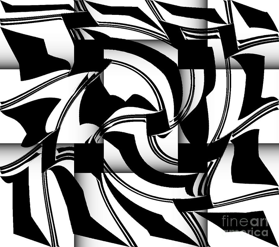 geometric art black white abstract no 173 digital art by drinka mercep