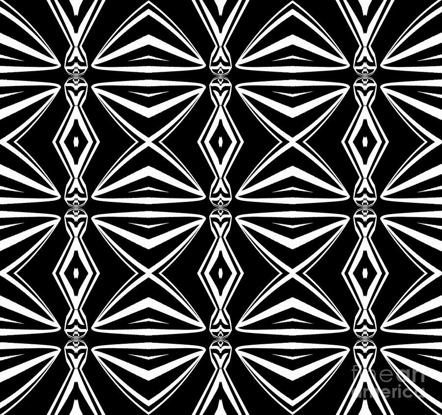 Geometric pattern digital art geometric art pattern black white abstract print no 211 by
