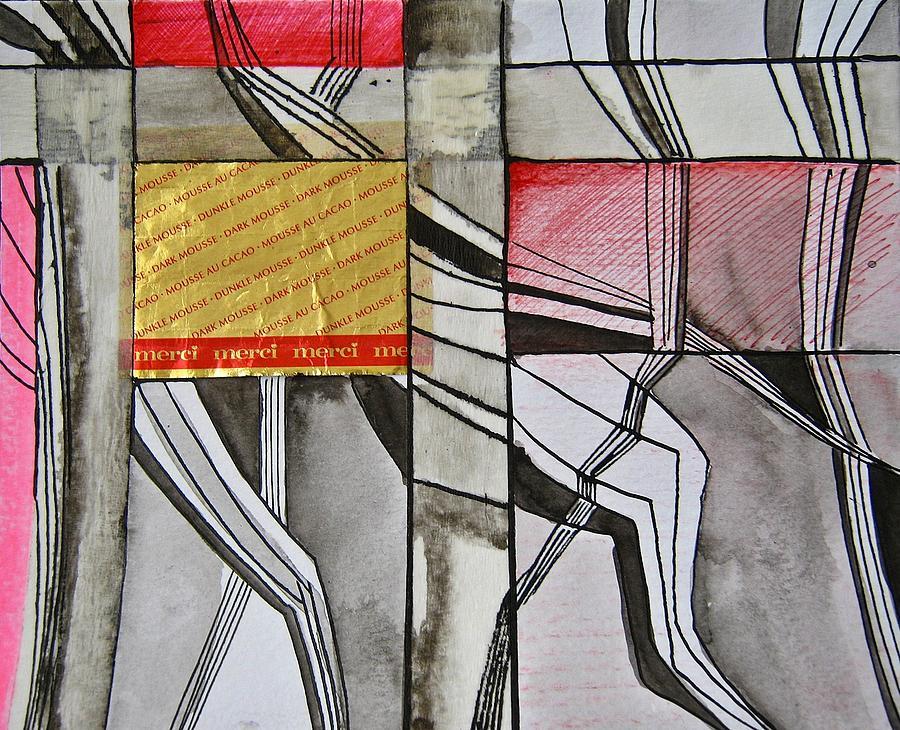 Red Mixed Media - Geometric Fields by Shirley Devon