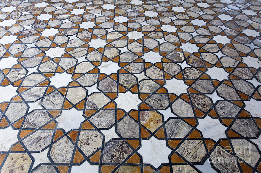 Geometric Marble Floor : Geometric marble floor design at lahore fort photograph by