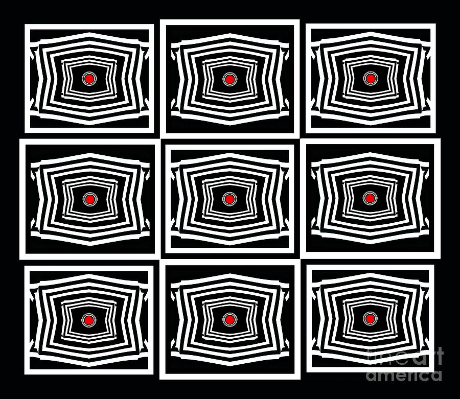 Abstract Hearts Digital Art - Geometric Op Art Black White Red Digital Abstract Print No.378. by Drinka Mercep