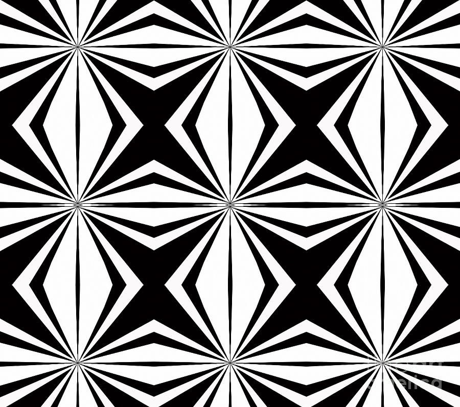 Geometry digital art geometric pattern abstract black white art no 291 by drinka