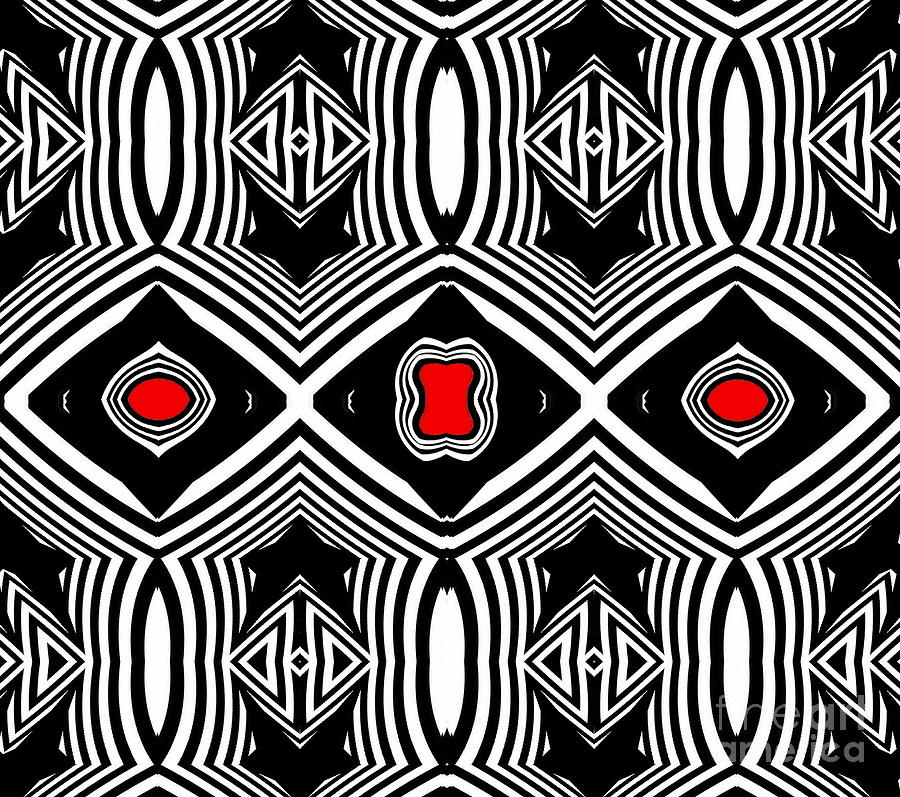 Geometric Pattern Digital Art - Pattern Black White Red Op Art No.389. by Drinka Mercep