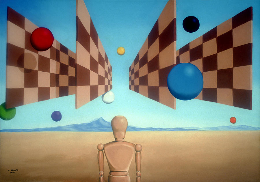 Surrealism Painting - Geometric Witness by Michael Bridges