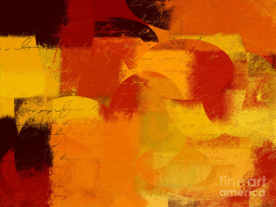 Orange Digital Art - Geomix 05 - 01at01b by Variance Collections