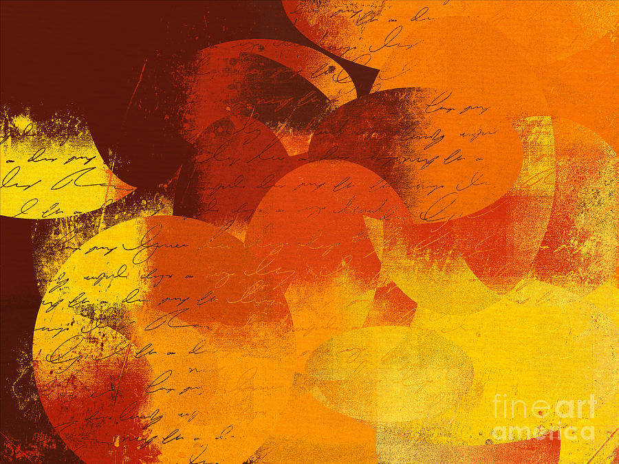 Orange Digital Art - Geomix 05 - 01at02 by Variance Collections