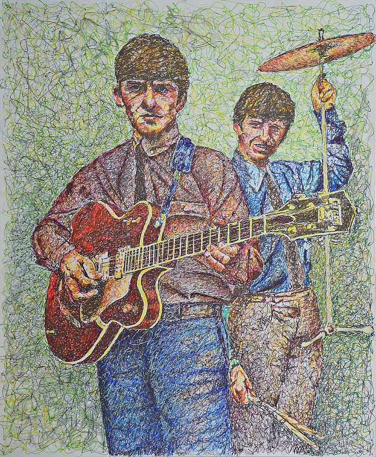 George Harrison And Ringo Star Photograph - George And Ringo by Breyhs Swan