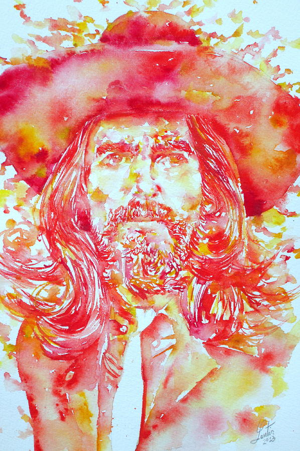 George Painting - George Harrison With Hat by Fabrizio Cassetta