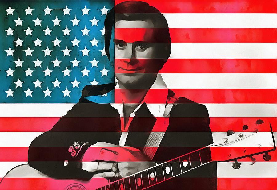 George Jones Digital Art - George Jones American Country by Dan Sproul
