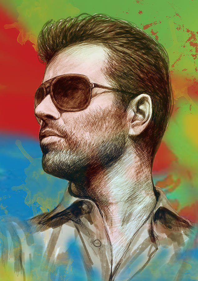 George Michael Stylised Pop Morden Art Drawing Sketch Portrait.  George Michael Is An English Musician Drawing - George Michael Stylised Pop Morden Art Drawing Sketch Portrait by Kim Wang