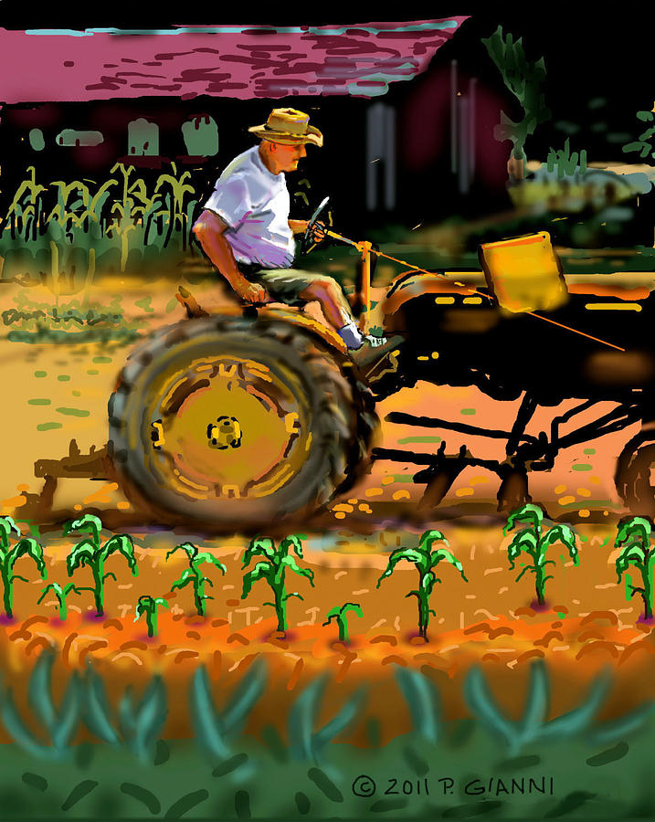 Landscape Painting - George On His Tractor by Philip Gianni