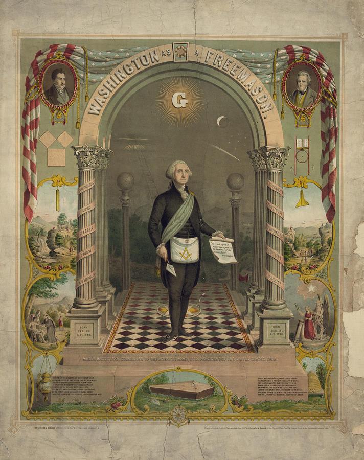 1860s Photograph - George Washington In Masonic Attire by Everett