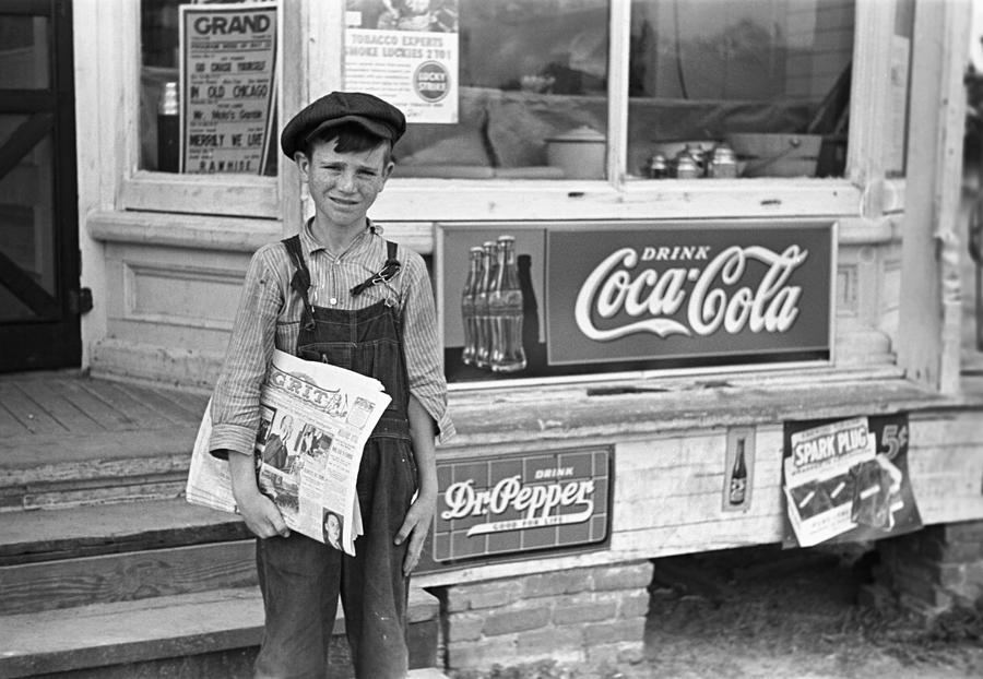 1938 Photograph - Georgia Newsboy, 1938 by Granger