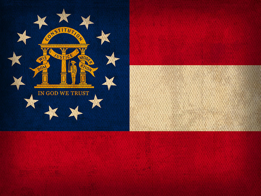 Georgia Mixed Media - Georgia State Flag Art On Worn Canvas by Design Turnpike