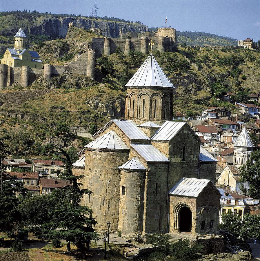 Square Photograph - Georgia. Tbilisi. Meteki Church by Everett