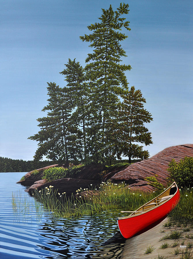 Landscapes Painting - Georgian Bay Beached Canoe by Kenneth M  Kirsch