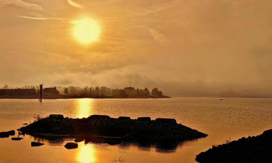 Mist Photograph - Georgian Bay Misty Sunset by Jeff S PhotoArt