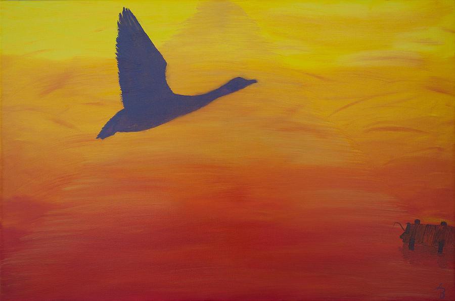 Yellow Painting - Georgian Bay Sunset by Alex Banman