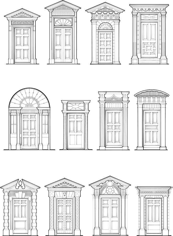 Georgian Door Details Drawing by Jcgwakefield