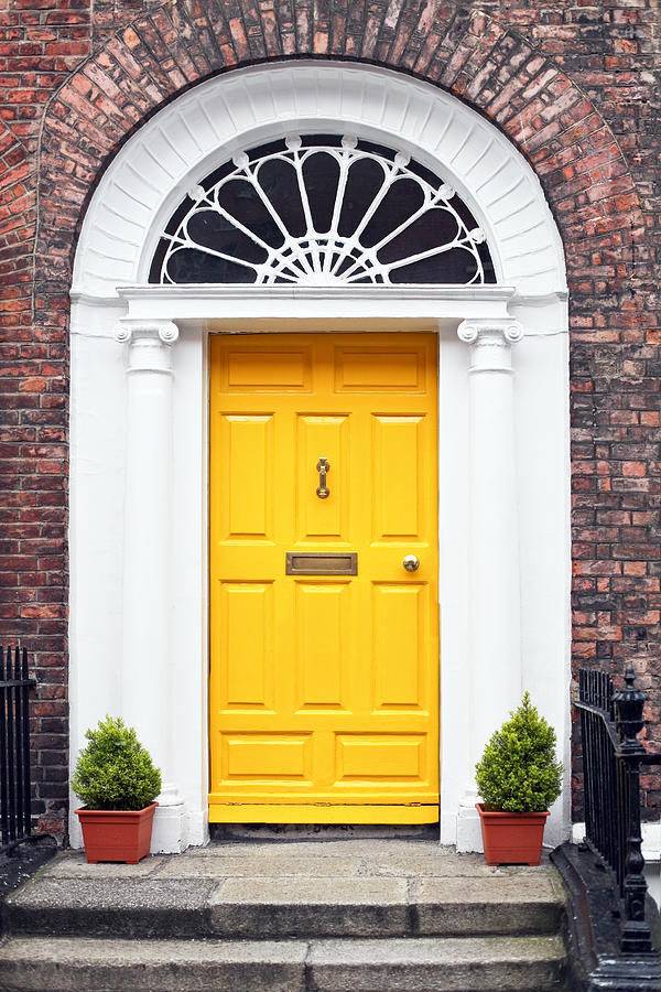 Georgian Style Yellow Wooden Door Photograph by Infrontphoto