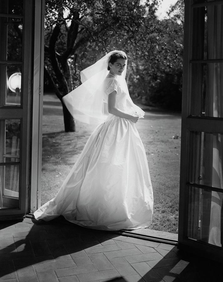 Geraldine Kohlenberg Wearing A Wedding Dress Photograph by Horst P. Horst