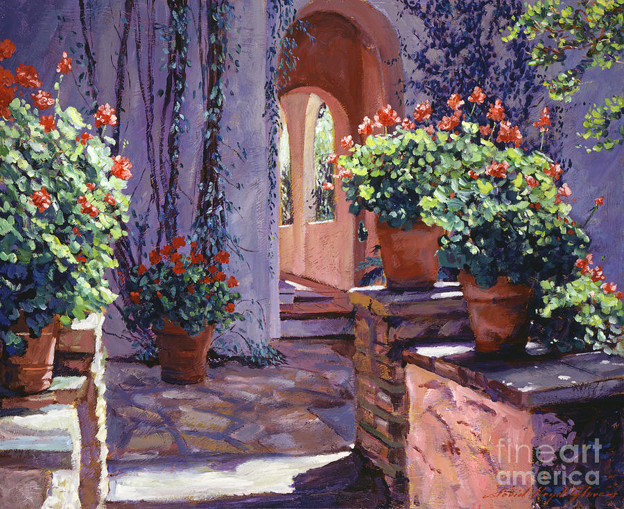 Landscape Painting - Geranium Walkway by David Lloyd Glover