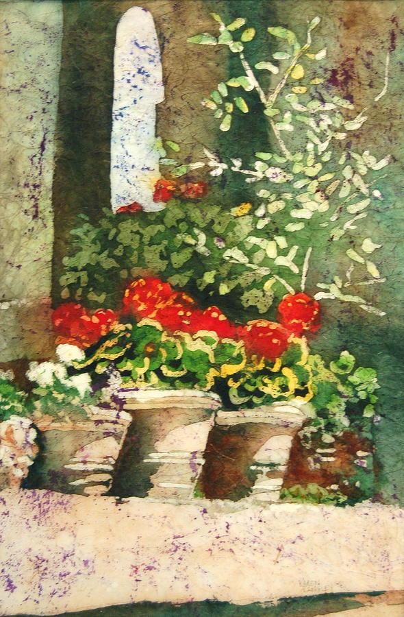 Watercolor Painting - Geranium Welcome by Karen Langley