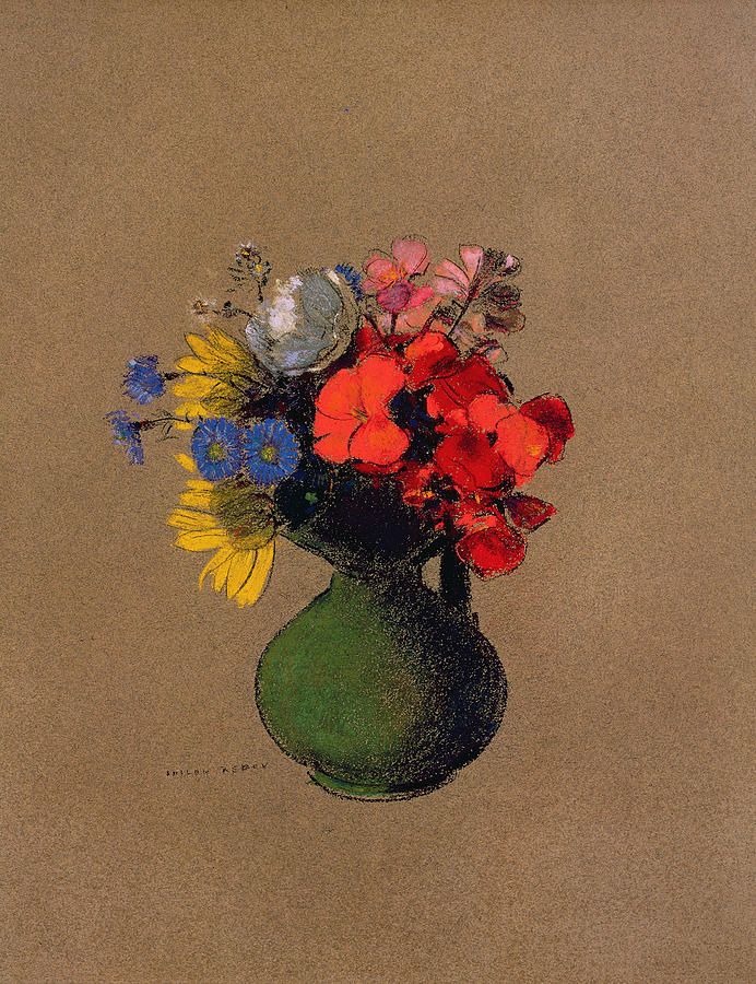 Poppy Pastel - Geraniums And Flowers Of The Field by Odilon Redon