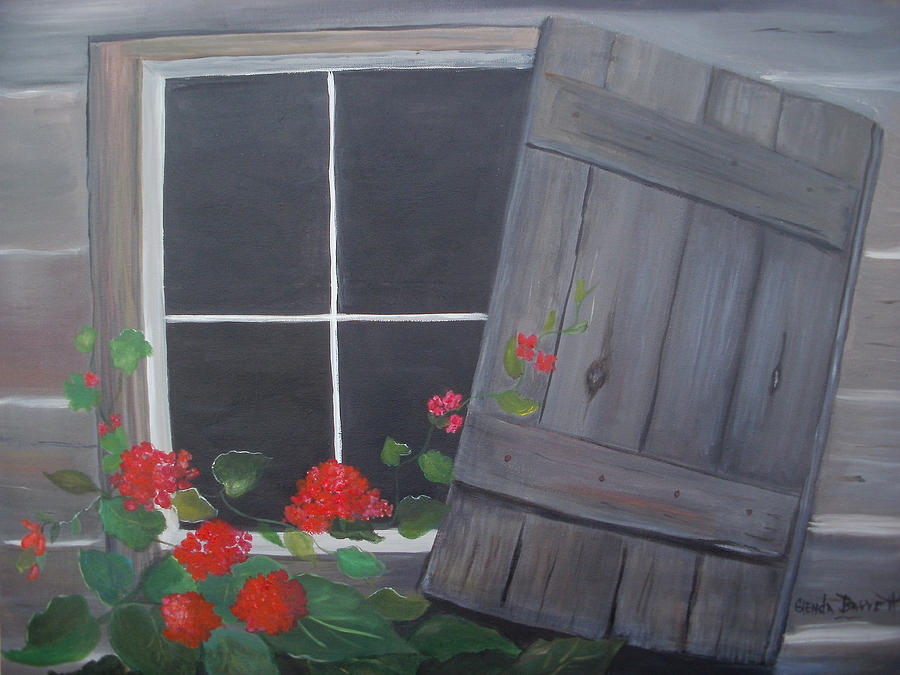 Original Painting - Geraniums At Log Cabin by Glenda Barrett