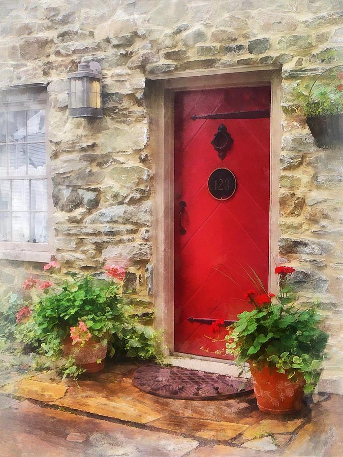 Door Photograph - Geraniums By Red Door by Susan Savad
