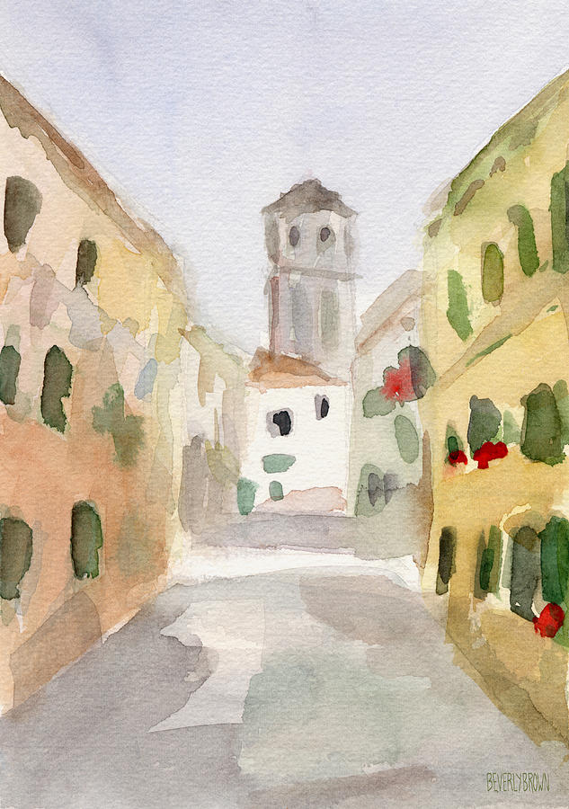 Venice Painting - Geraniums Cannaregio Watercolor Painting of Venice Italy by Beverly Brown Prints