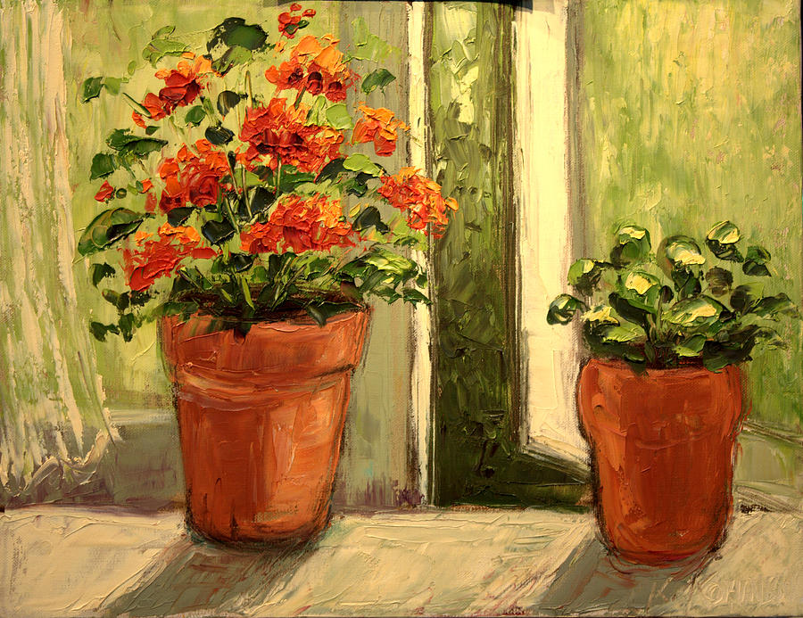 Oil Painting - Geraniums in the Window Paint Along with Nancy PBS by Michaelalonzo Kominsky