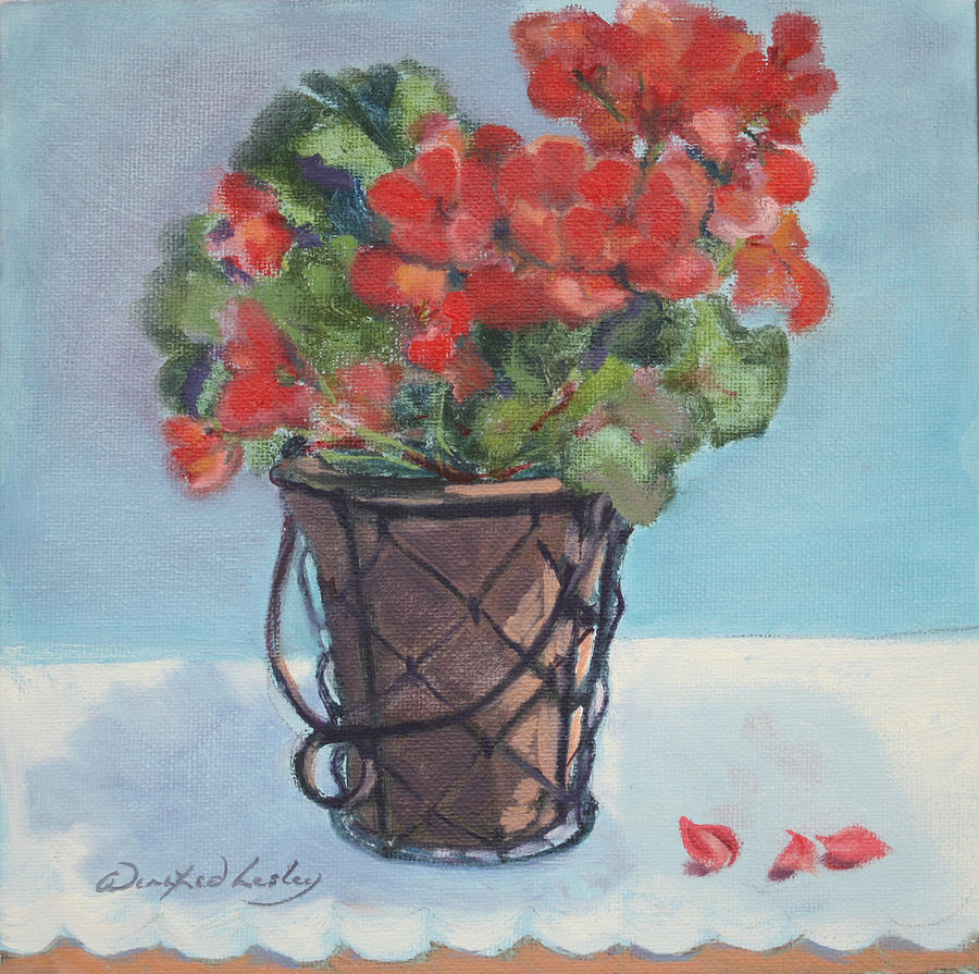 Painting - Geraniums by Winifred Lesley
