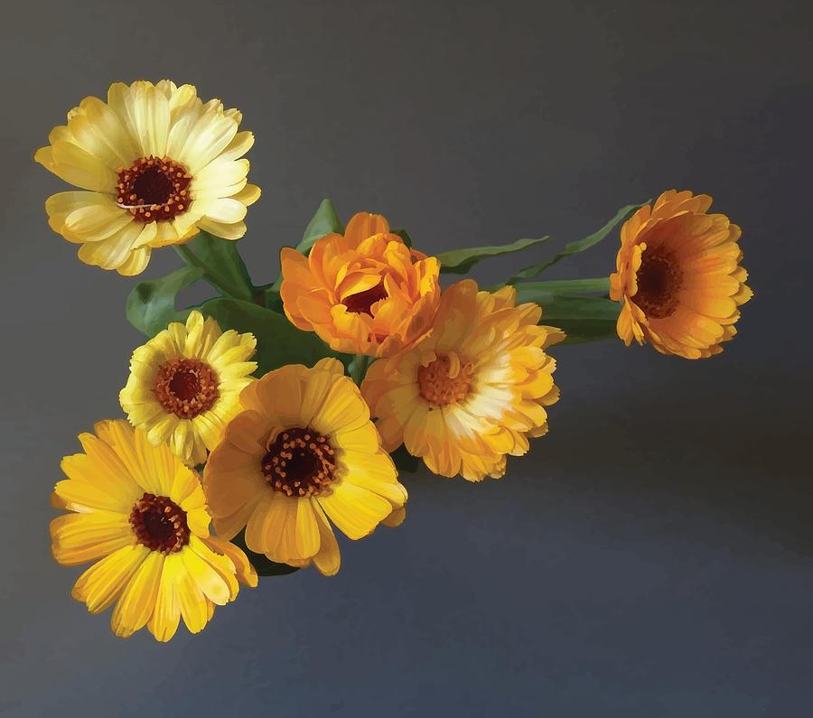 Arrangement Digital Art - Gerbera bouquet by Adrian Bud