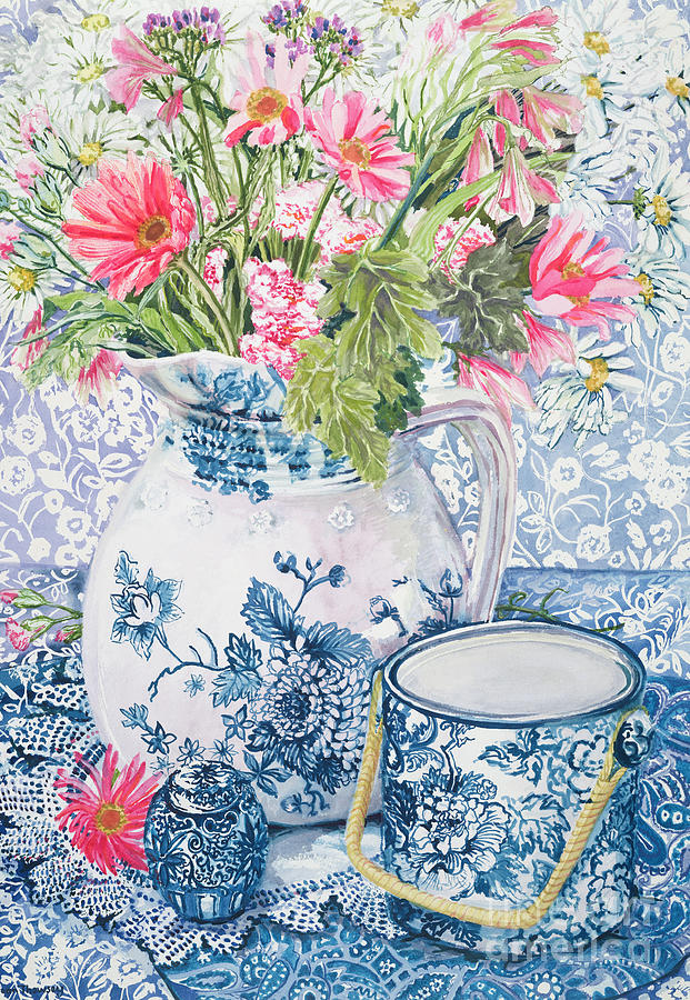 Blue And White Painting - Gerberas In A Coalport Jug With Blue Pots by Joan Thewsey