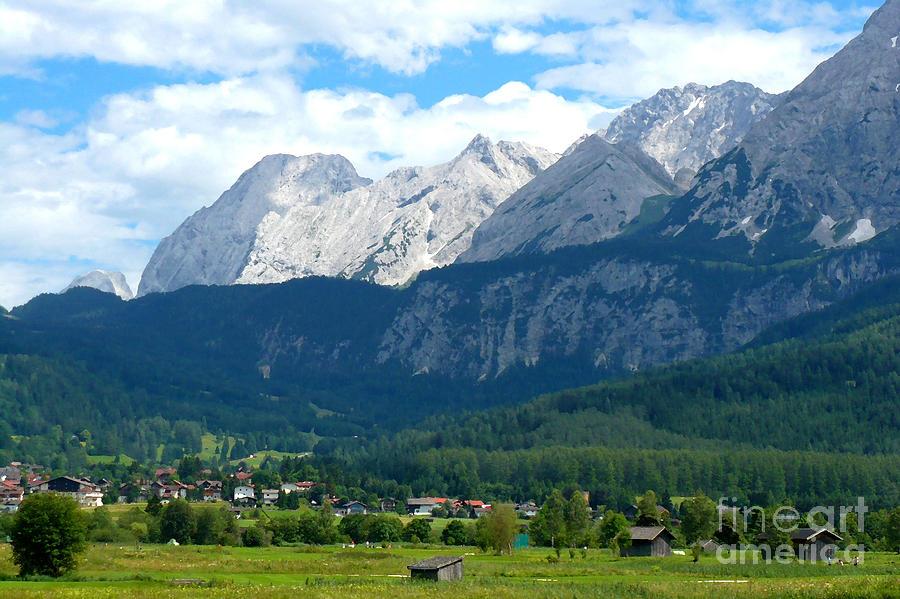 Landscape Photograph - German Alps - Digital Painting by Carol Groenen