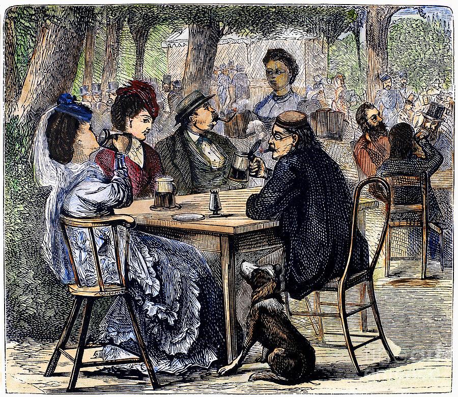 1870 Photograph - German Beer Garden, 1870 by Granger