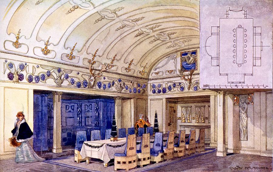 Dining Room Drawing - German Dining Hall, Early 20th Century by Gustave Halmhuber