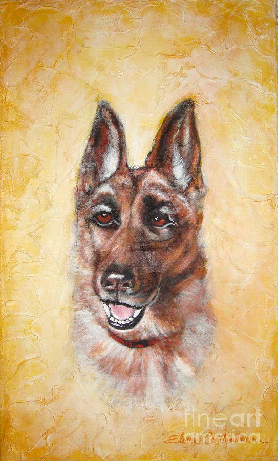 Dog Portrait Painting - German Shepard Portrait Lala by Elena  Constantinescu