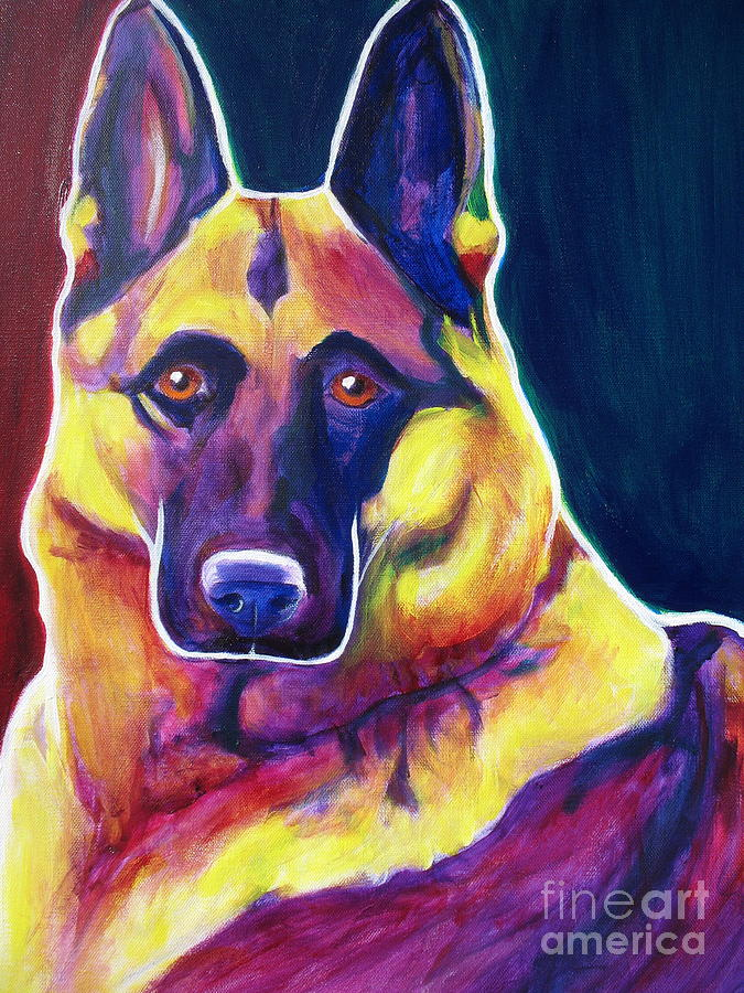 German Painting - German Shepherd - Burner by Alicia VanNoy Call