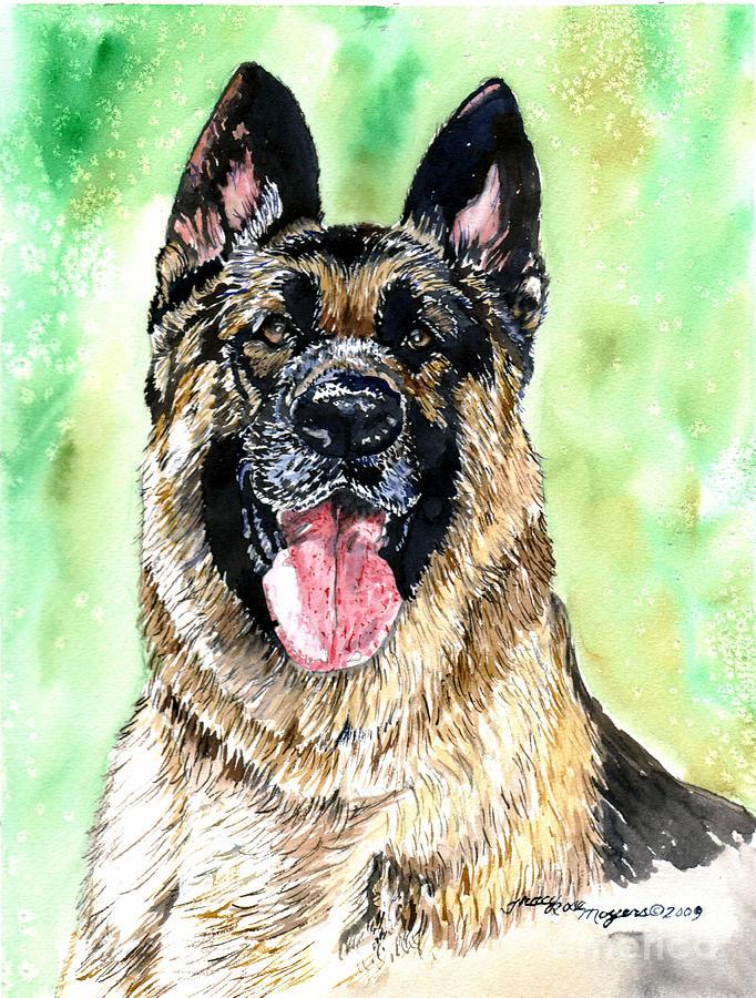 Paintings Painting - German Shepherd by Tracy Rose Moyers