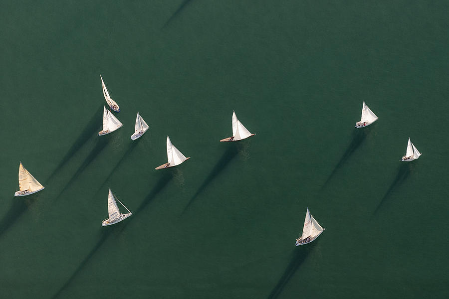 Germany, Baden-wuerttemberg, Lake Constance, Friedrichshafen, Aerial View Of Sailing Boats Photograph by Westend61