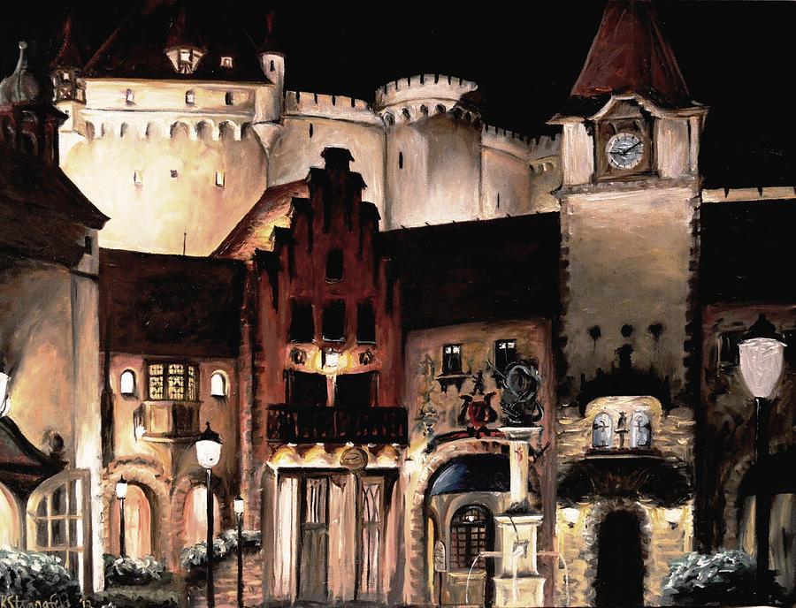 Disney Painting - Germany Epcot by Karen Strangfeld