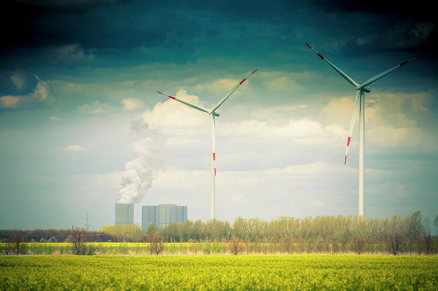 Germany, Saxony, Wind Turbine With Coal Photograph by Westend61