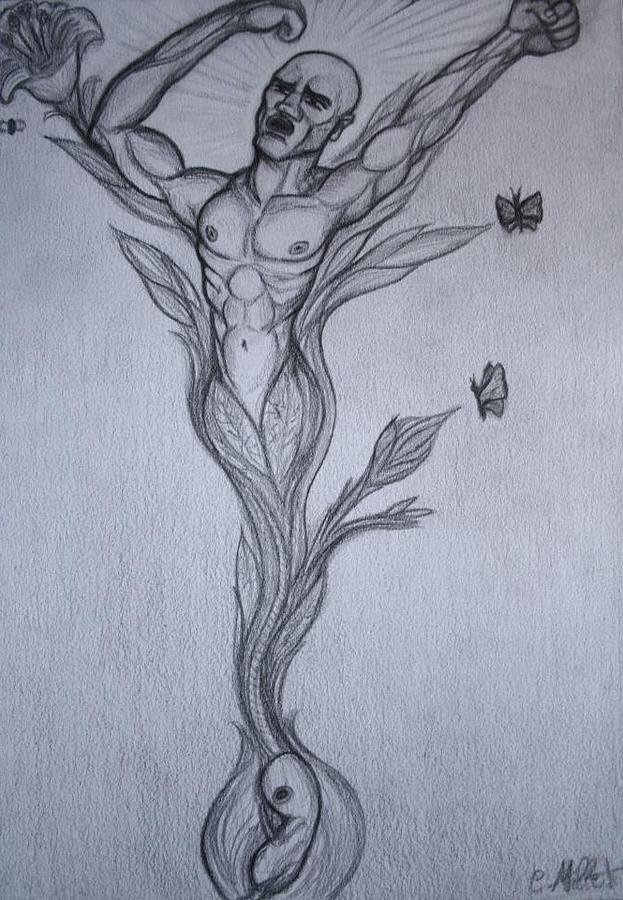 Germinal Drawing - Germinal The Birth Of The Free Man by Cindy MILLET
