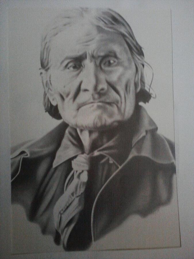 Portrait Drawing - Geronimo by Dean Nosinner
