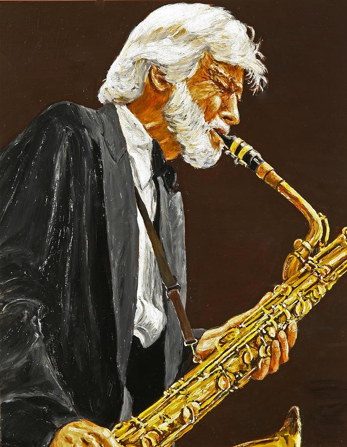 Gerry Mulligan Painting - Gerry Mulligan by Rudy Browne
