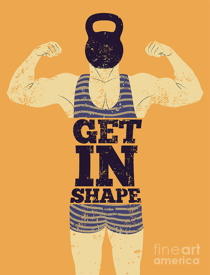 Muscular Digital Art - Get In Shape. Typographic Gym Phrase by Zoo.by