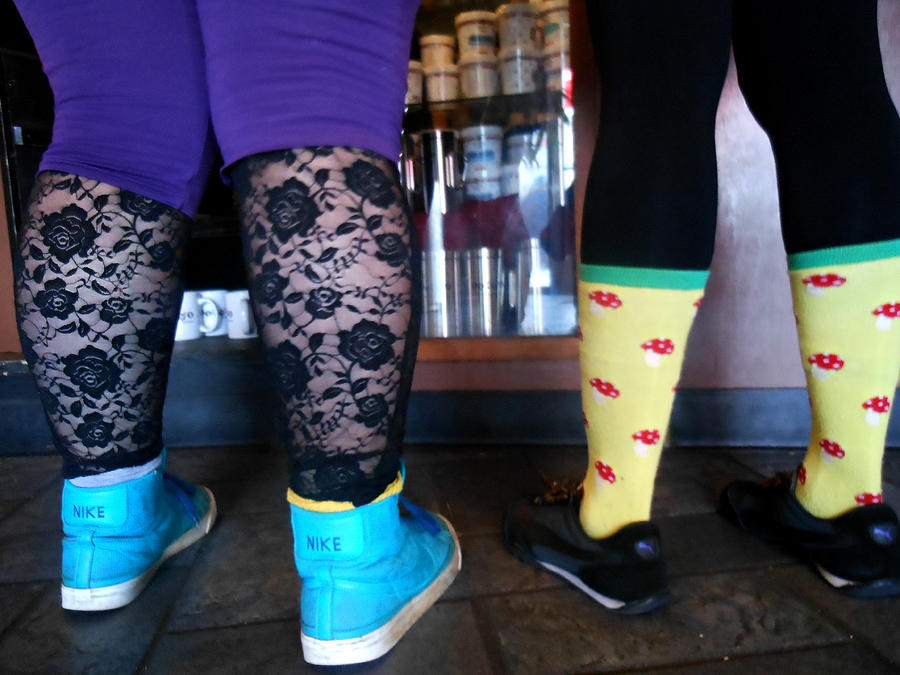 Stockings Photograph - Getting Coffee In Portland by Sherry Dooley