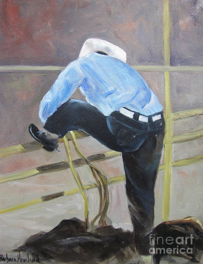 Rodeo Painting - Getting Ready to Ride by Barbara Haviland